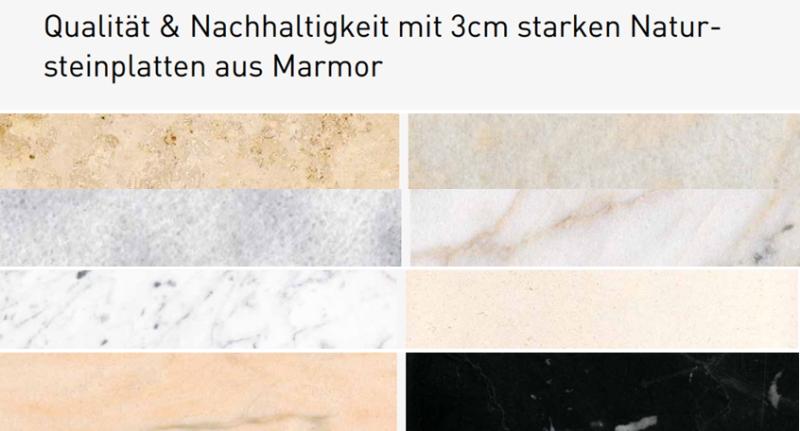Qualität & Nachhaltigkeit mit 3cm starken Natursteinplatten aus Marmor
