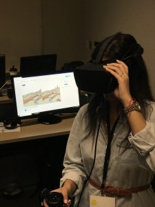 Woman using an Oculus Rift