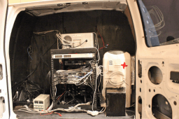 Inside NinjaTel Van and equipment rack - Photo by Dan Goodin http://arstechnica.com/author/dan-goodin/