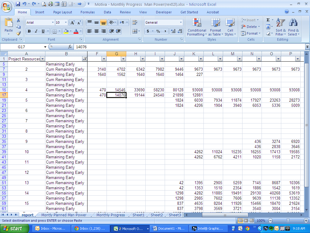 Project Management Graphing A P6 Resource S Curve In Excel