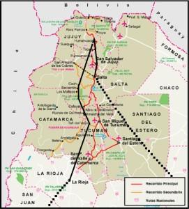 Mapa ruta por Salta