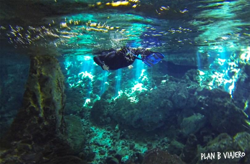 plan b viajero, cenote dos ojos snorkel tulum