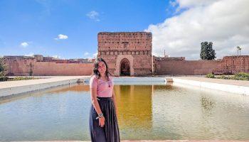 Ich in der Ruine einer Tempelanlage in Marraksch