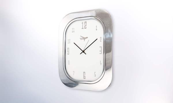 Boeing 747 Window Clock Aluminium White