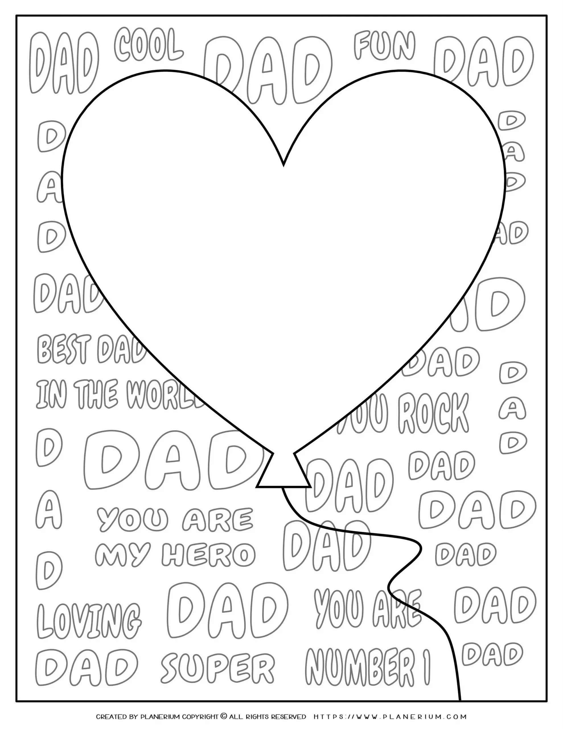 Father S Day Coloring Page Big Heart Balloon For Dad Planerium