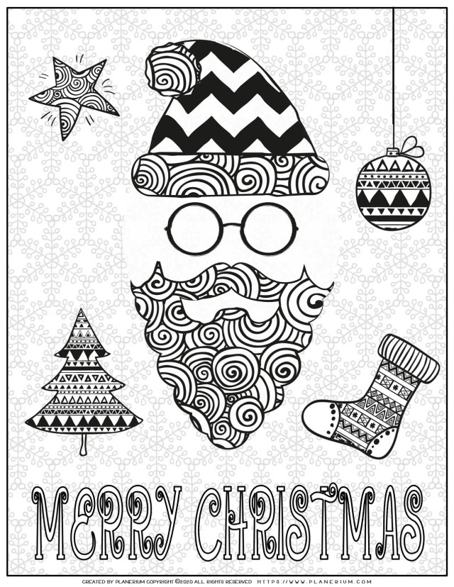 Christmas Coloring Pages - Merry Christmas Poster - Santa and