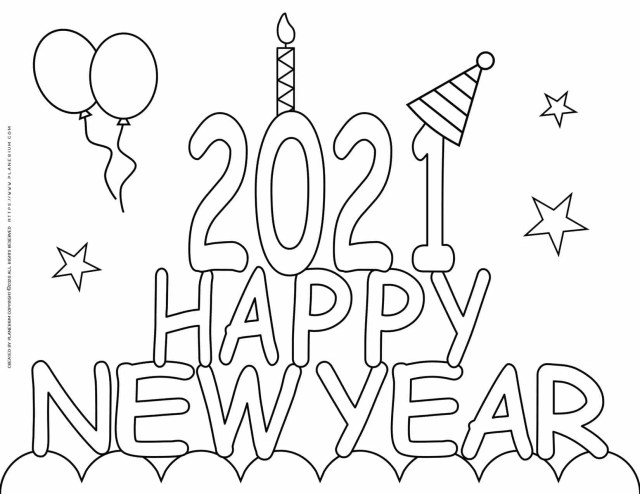 New Year Coloring Pages - Happy New Year 28  Planerium