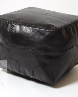 black plain square pouffe