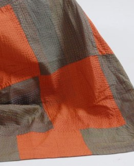 orange green throw silk