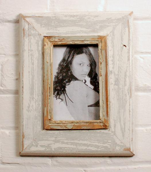 A6 Distressed Recycled Wooden Picture Photo Frame Off White With