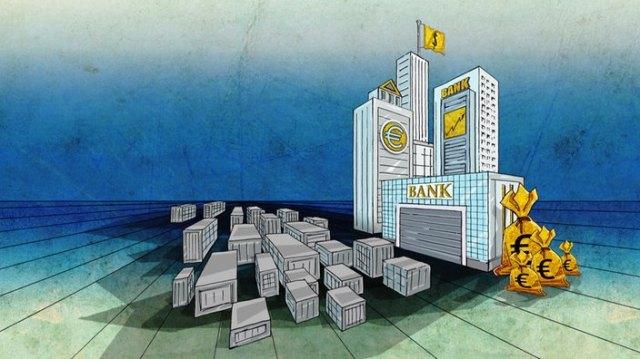 Zeichnung: Verschiedene Bankgebäude mit großen Geldsäcken und kleinen grauen Gebäuden daneben.