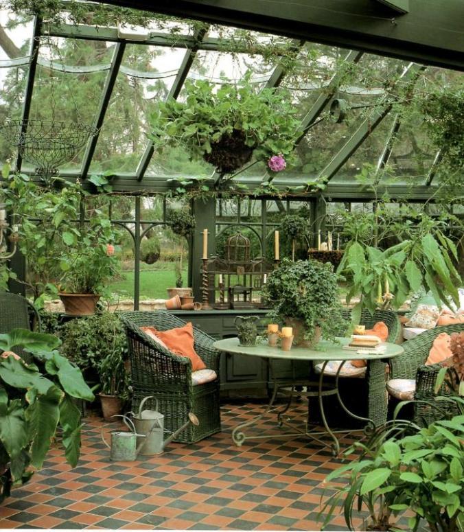 mesa y sillas jardin de invierno