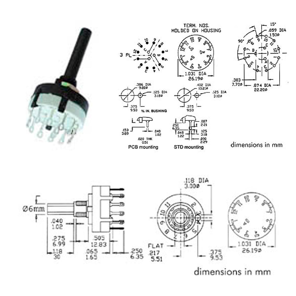 Interruptor Conmutador Rotativo 3c 4 Posiciones