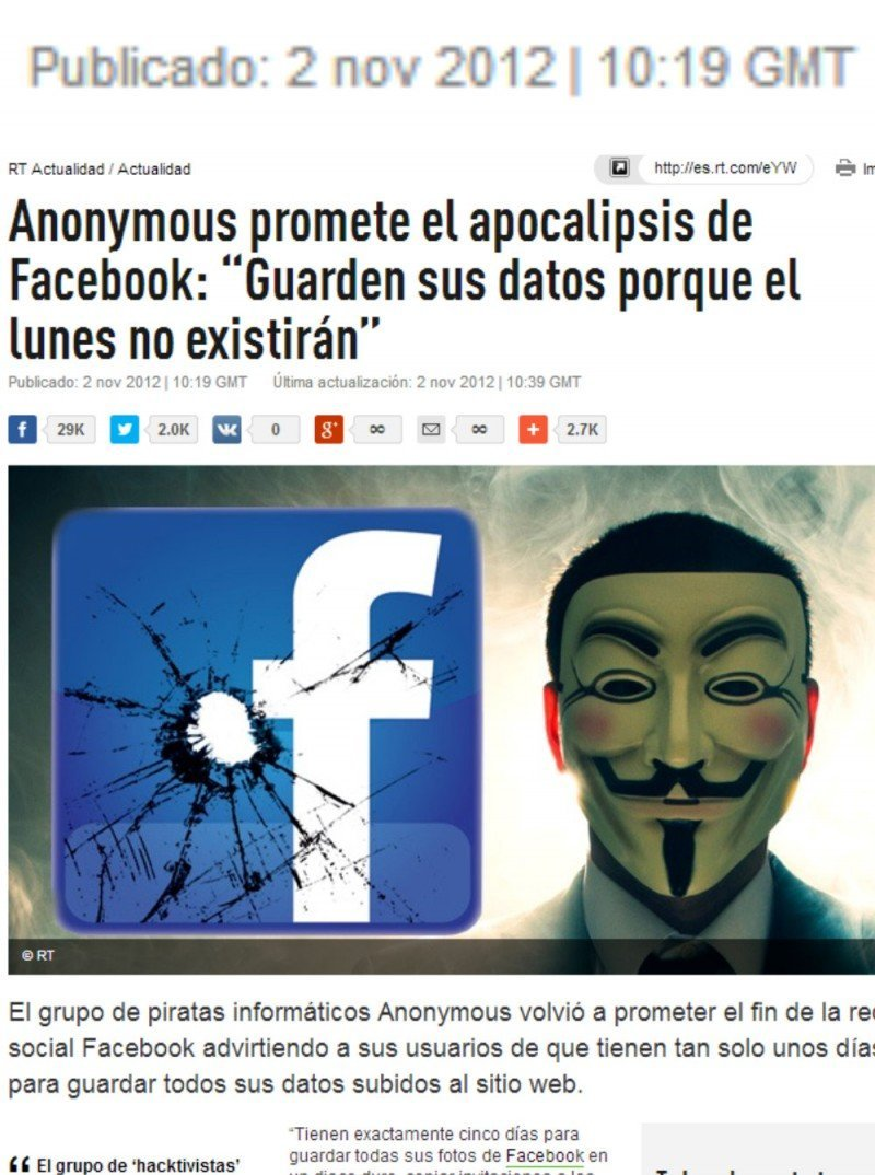 Noticia falsa en los medios sobre un ataque a facebook de Anonymous