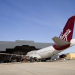 Virgin Atlantic 747 aircraft ready for refit at Gatwick