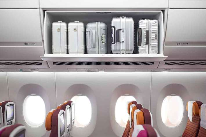 Thai Airways A350 economy cabin overhead baggage space