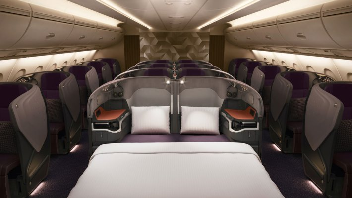 Singapore Airlines Business Class seats make into a double bed