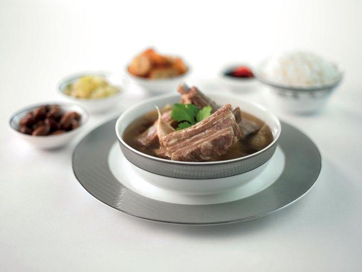 Singapore Airlines First Class food Bak-kut-teh