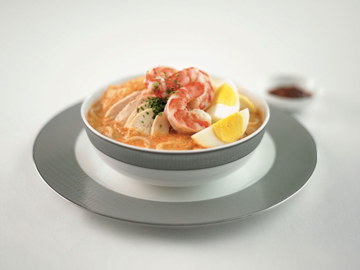 Singapore Airlines First Class food Prawn and Chicken Laksa