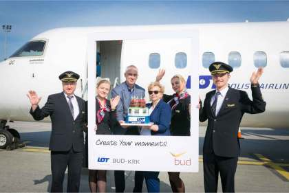 Inaugural flight of new LOT Polish Airlines' route from Kraków to Budapest