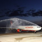 First airberlin flight with Airbus A330 arrives from Berlin at Abu Dhabi airport