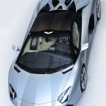 The Lamborghini Aventador LP700-4 Roadster from above with the roof panels on