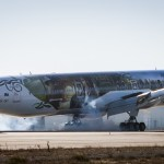 The Air New Zealand Hobbit Boeing 777 lands at LAX airport