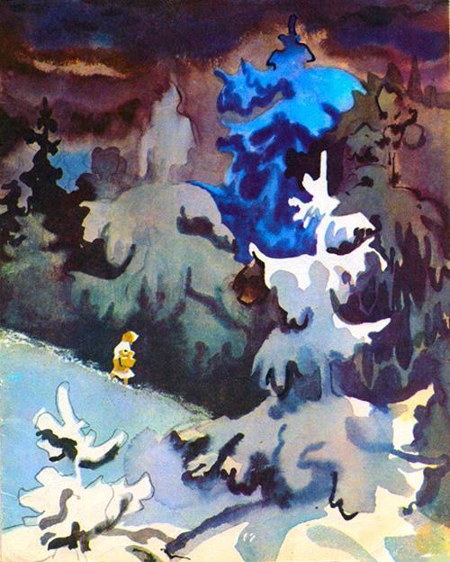 падчерица в ночьном лесу