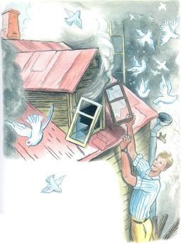 Дядя Стёпа пожар птицы голуби на крыше дым