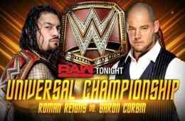 Roman Reigns defenderá el Universal Championship contra Baron Corbin en WWE RAW