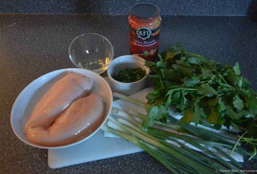 Cooking ingredients - Chicken Breasts, KFI Tikka Masala and onions with parsley