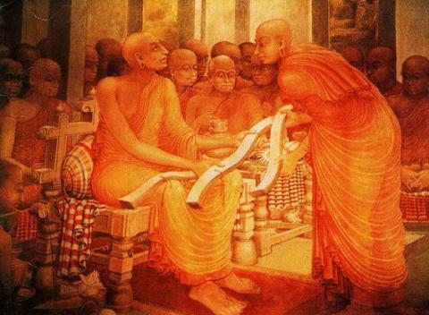 Buddhaghosa, whom the Visuddhimagga is attributed to: Kelaniya Temple murals, Sri Lanka