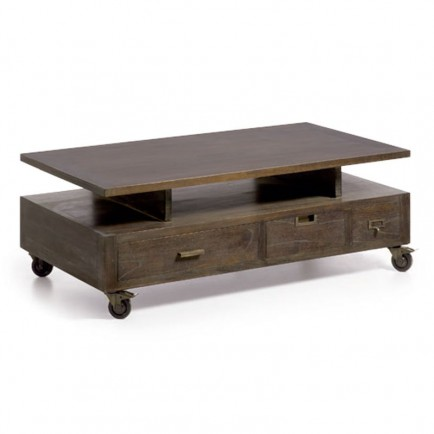 table basse roulettes industrial mindy