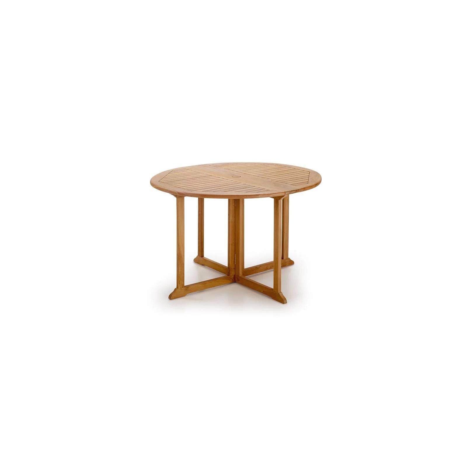 table de jardin ronde pliante teck greenwood