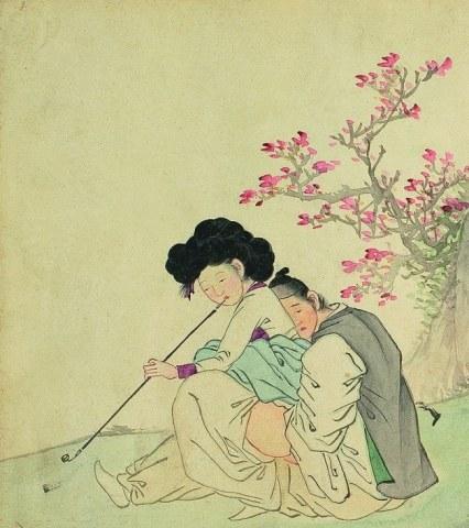 ill. 6. La courtisane avec un homme, Kim Hong-do (김홍도), XIX siècle