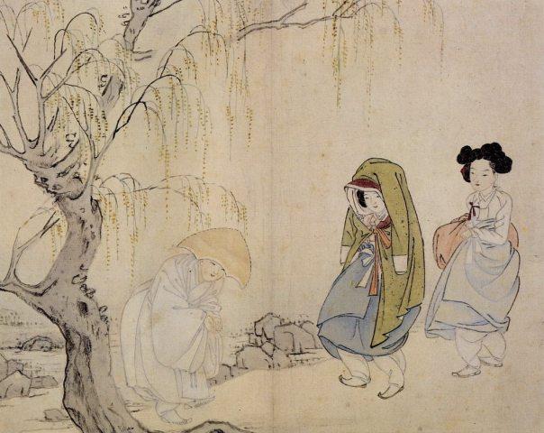 ill. 8. La bonzesse salue une gisaeng, Hyewon / Shin Yun-bok