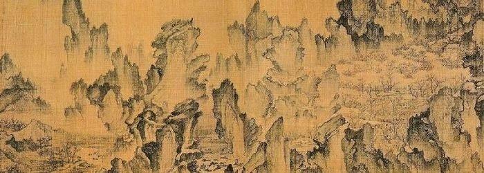 """C'est une peinture sous le titre """"Un voyage de rêve au Pays des Fleurs de Pêcher"""" d'An Gyeon de 1447."""