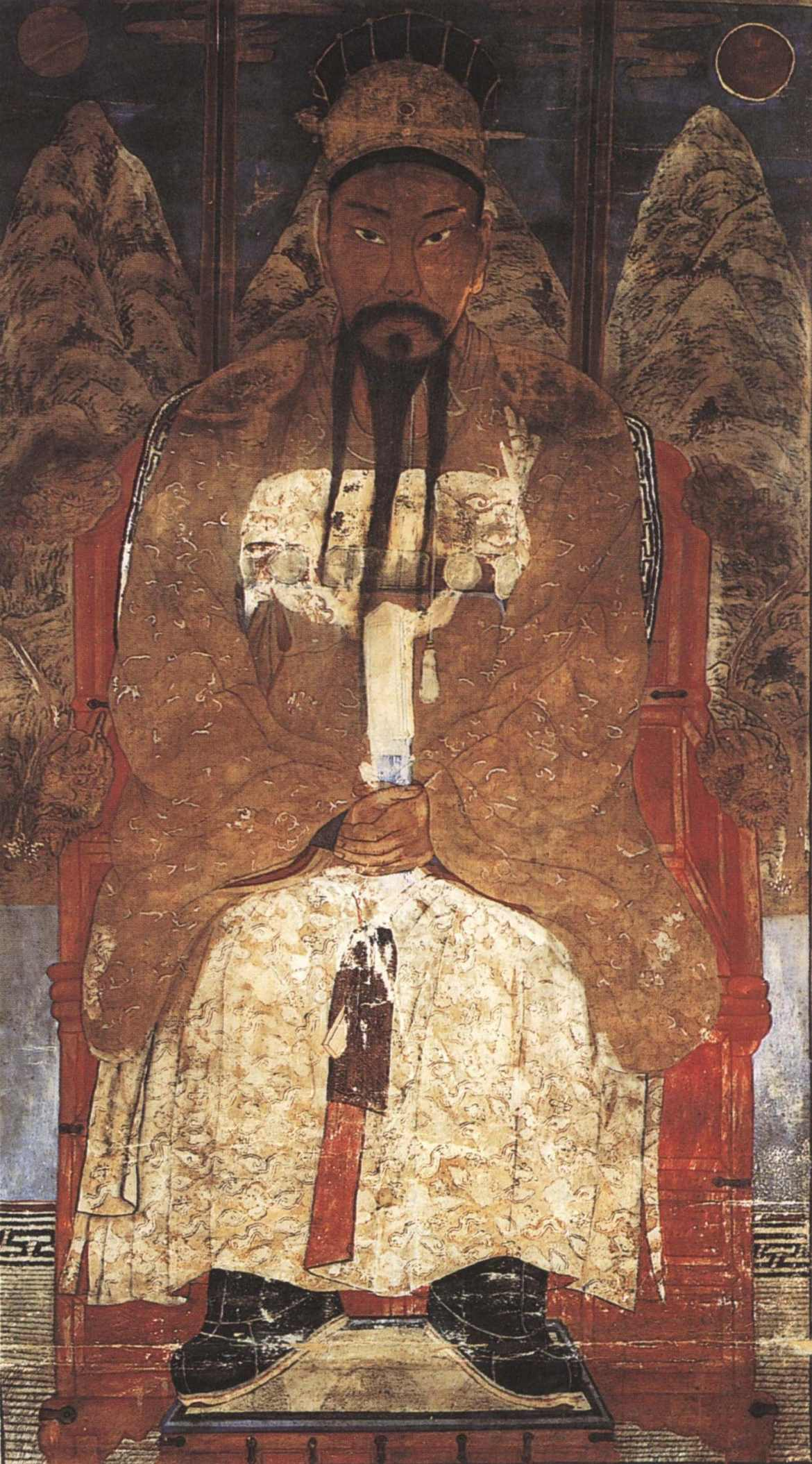 C'est une peinture de rouleau du XIXème siècle, créée par l'artiste Chae Yong-sin (채용신 ; en hanja : 蔡龍臣), qui présente Tangun en tant que roi, ceci dit Dangun Wanggeom (단군 왕검 ; en hanja : 檀君王儉).
