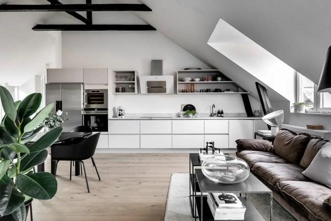 Un loft scandinave en noir et blanc