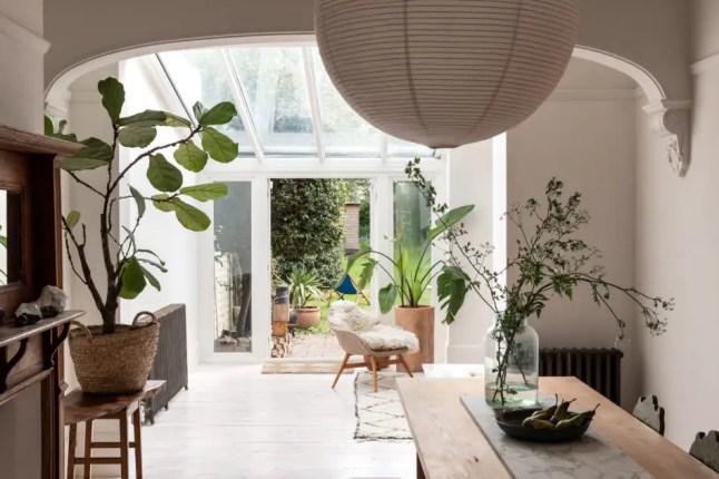 Design contemporain dans une maison anglaise où se mêlent plantes vertes et bois clair
