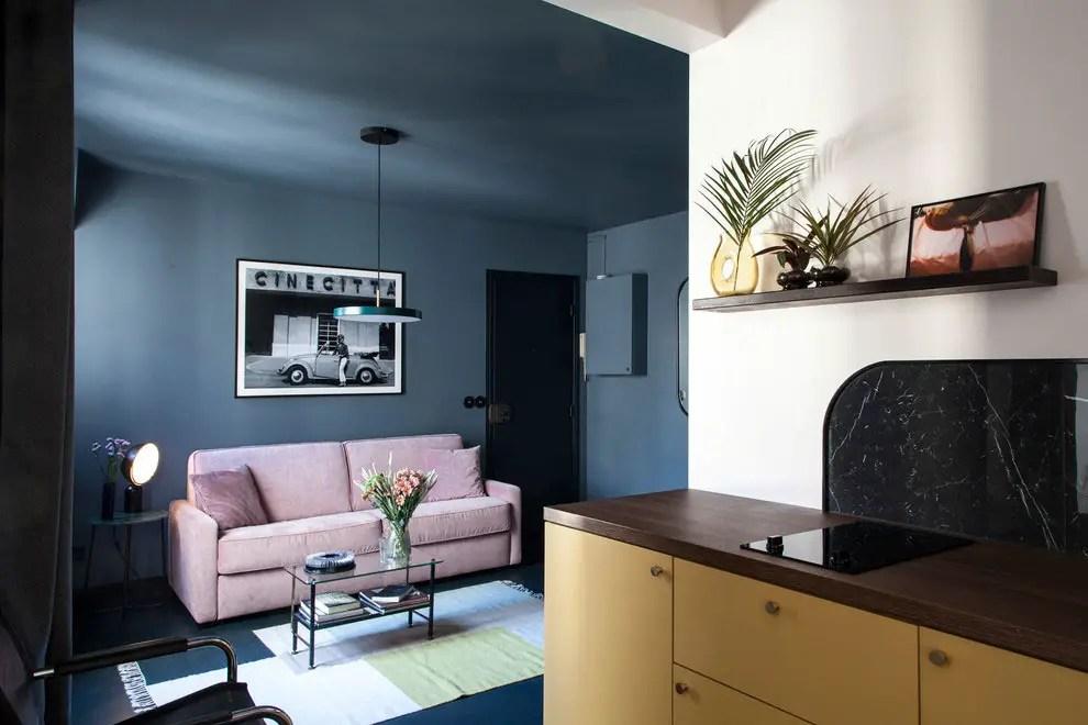 Un appartement de 45m2 en couleurs fortes dans le quartier latin à Paris
