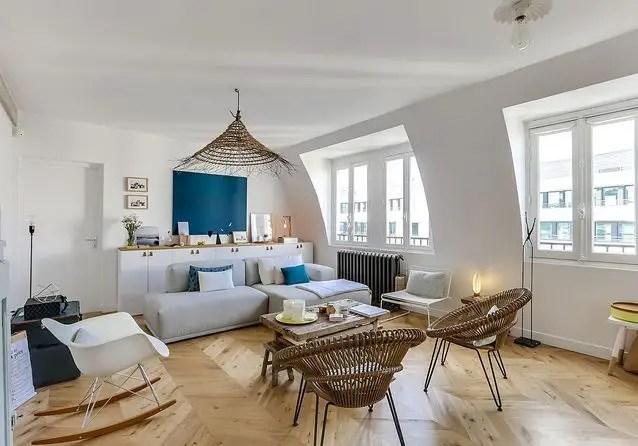 La rénovation d' un duplex avec terrasse à Paris devenu l'appartement familial idéal