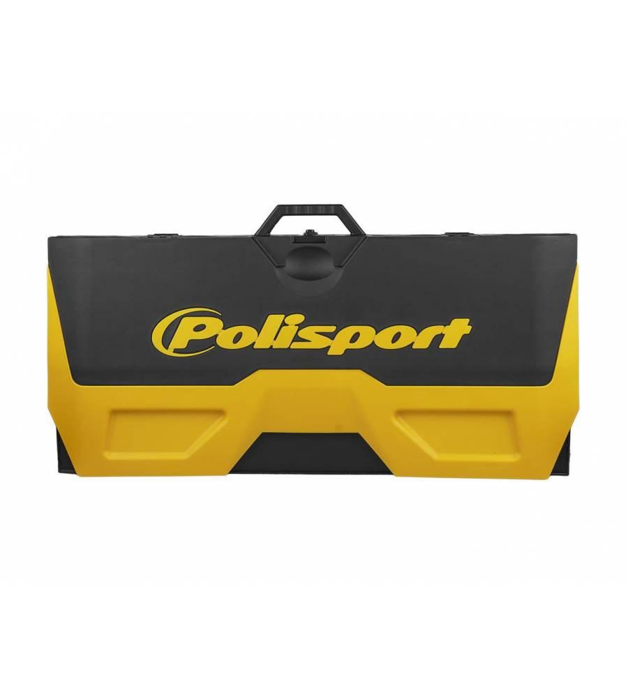 tapis environnemental avec bac recuperateur pliable polisport jaune noir