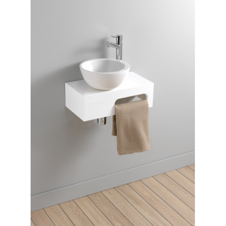 meuble lave mains mural blanc brillant vasque bol planetebain