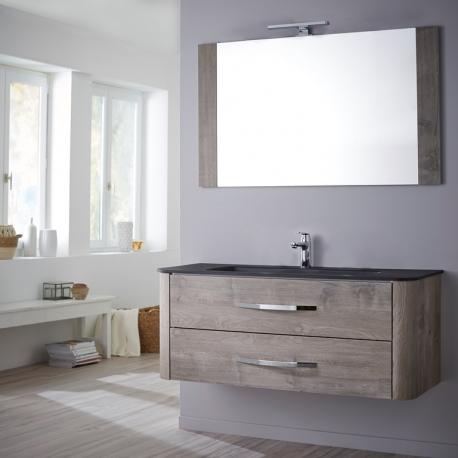Vente Meuble De Salle De Bain Plan Vasque Miroir Eclairage 80cm Curve Chene Grise Excellent Rapport Qualite Prix