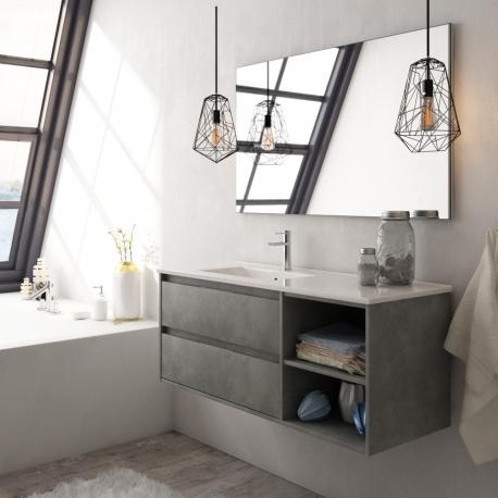 Vente Meuble De Salle De Bain Moderne Ensemble Tout Compris Meuble Plan Vasque Miroir Eclairage Planetebain