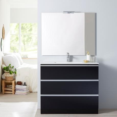 Achat De Meuble De Salle De Bain A Poser 100 Cm Noir Simple Vasque Pas Cher En Stock Livraison Rapide