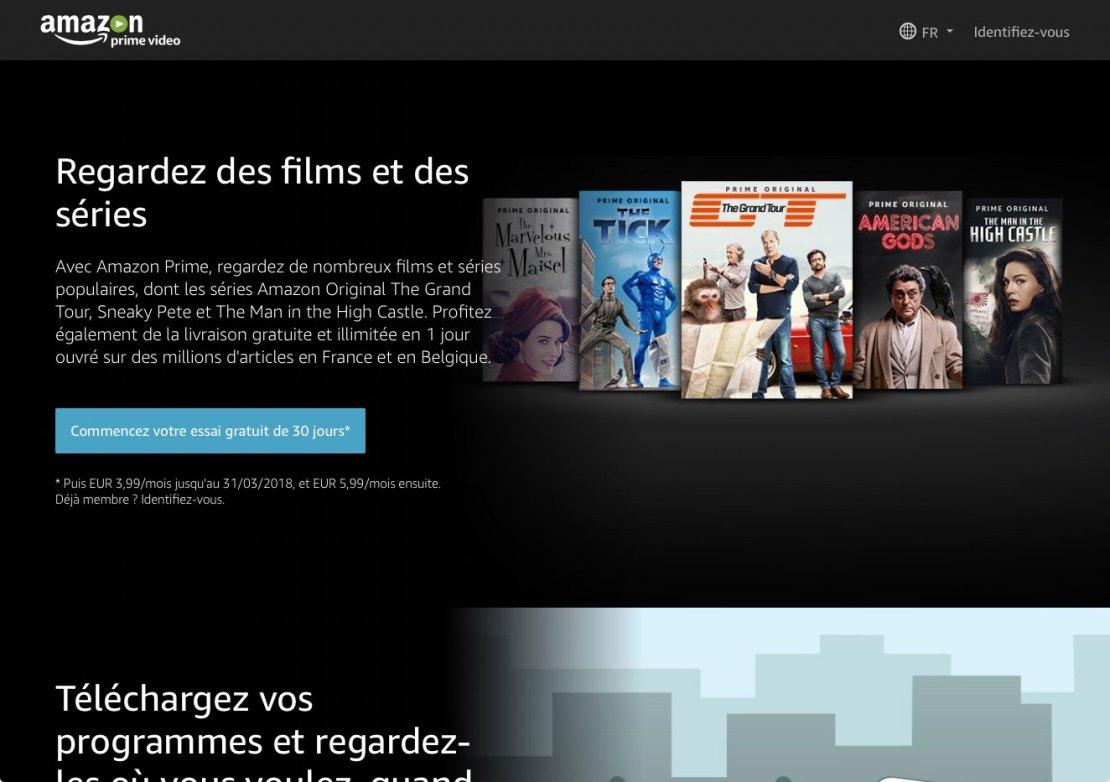 Page d'accueil du site Amazon Prime Vidéo