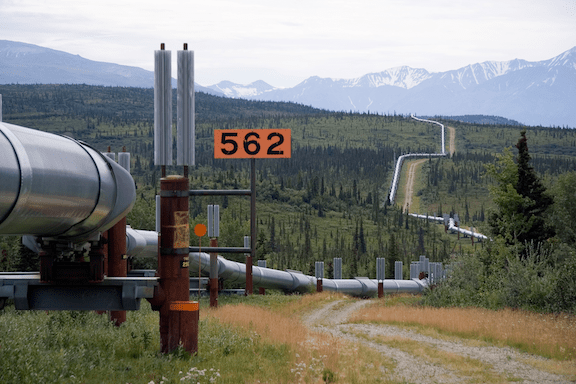 A section of BP's Trans-Alaska oil pipeline