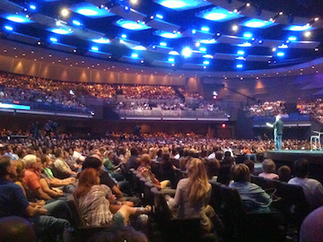 A packed sermon at the evangelical Gateway Church in Texas